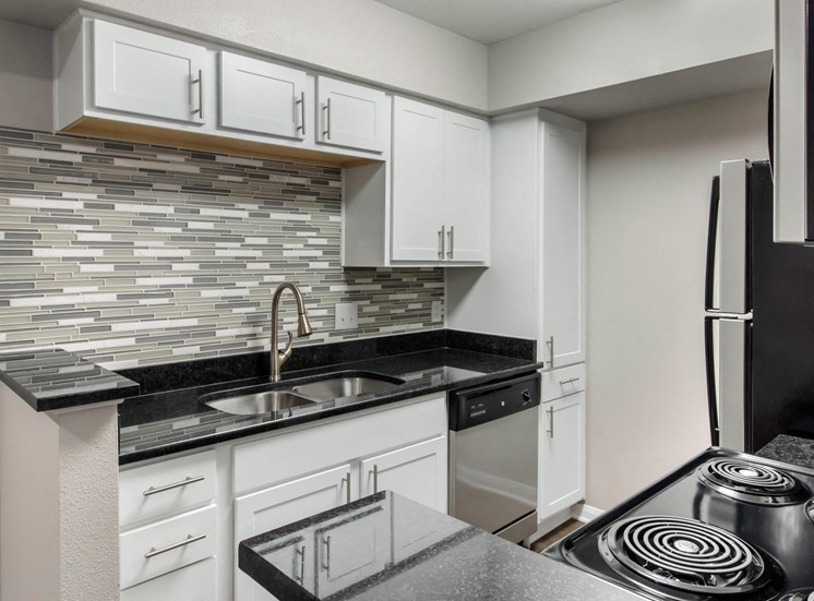 Kitchen with White Cabinets Black Counters and Stainless Steel Appliances
